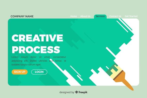 クリエイティブなプロセスコンセプトのランディングページ