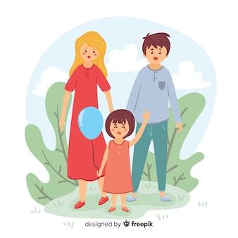 Семья нарисованная рукой делая мероприятия на свежем воздухе