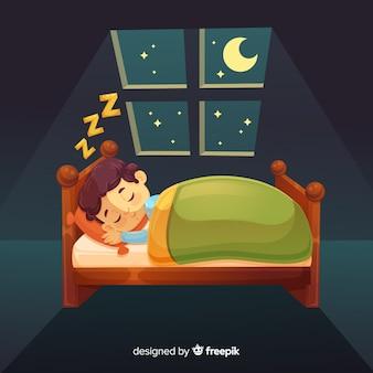 ベッドで寝ている少年