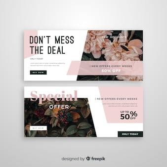 写真と抽象的な販売バナーテンプレート