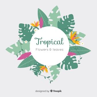 熱帯植物の花輪の背景