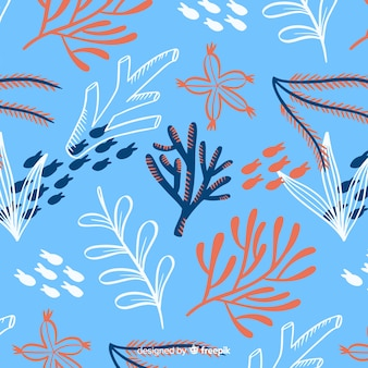 手描きのサンゴパターン