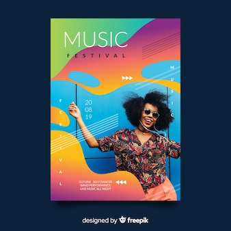 Красочный плакат фестиваля градиентной музыки