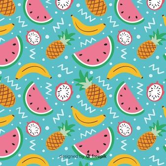 Плоские тропические фрукты шаблон