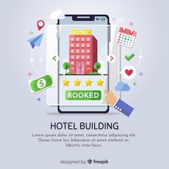 Плоская концепция бронирования отелей