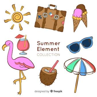 Рисованной летней коллекции элементов