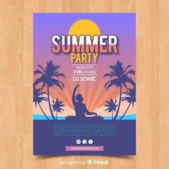 Шаблон плаката плоская летняя вечеринка