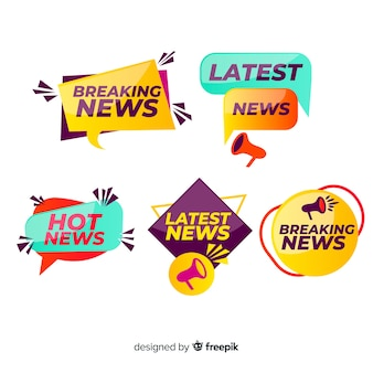 カラフルな幾何学的図形ニュースバナーセット