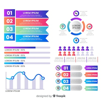 グラデーション効果を持つカラフルなインフォグラフィック要素