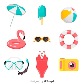 平らな夏の要素のコレクション