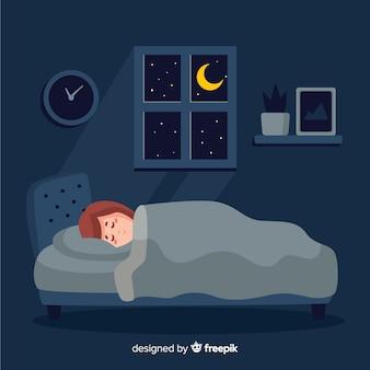 平らな人がベッドのバックグラウンドで寝ています。