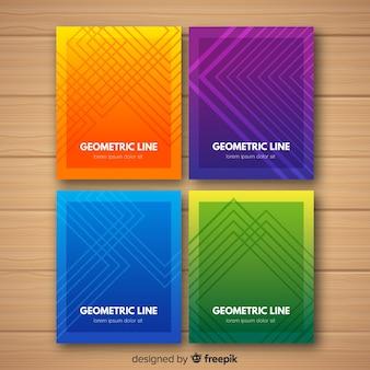 Красочные геометрические линии обложки коллекции
