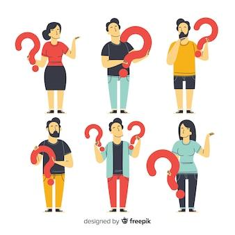 Плоские люди, имеющие фон вопросительные знаки