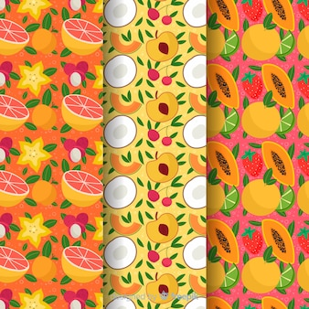 Ручной обращается шаблон тропических фруктов