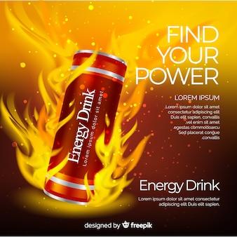 Реалистичная реклама энергетических напитков