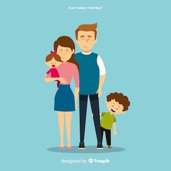 幸せな家族の肖像画、ベクトル文字デザイン