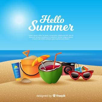 現実的なこんにちは夏の背景