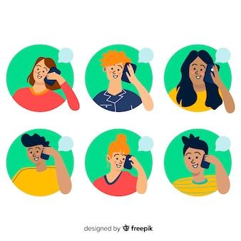 スマートフォンセットを使用して手描きの若い人たち