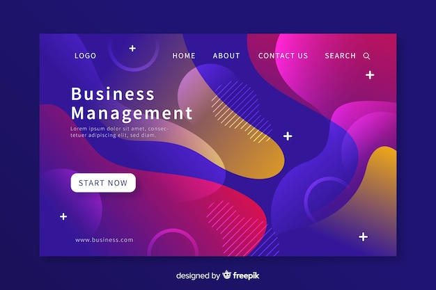 液体形状ビジネス会議のランディングページ