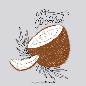 Ручной обращается кокосовый фон