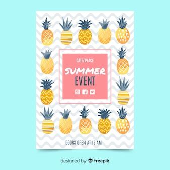 平らな夏のパーティーポスターパイナップル