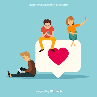 Инстаграм сердце. подростки в социальных сетях. дизайн персонажа.