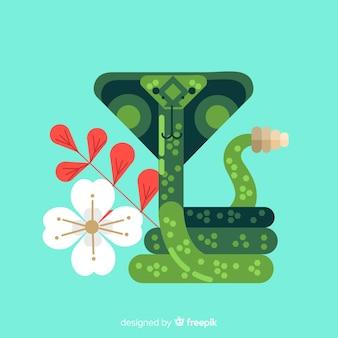 カラフルな平らなヘビの図