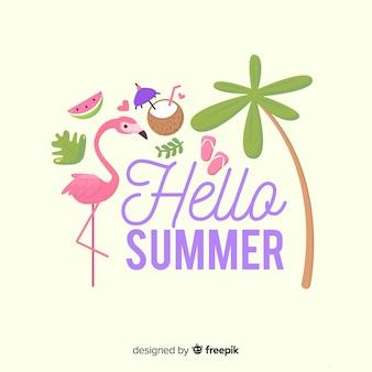 フラットフラミンゴこんにちは夏の背景