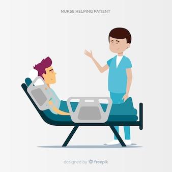 患者の世話をする手描き看護師
