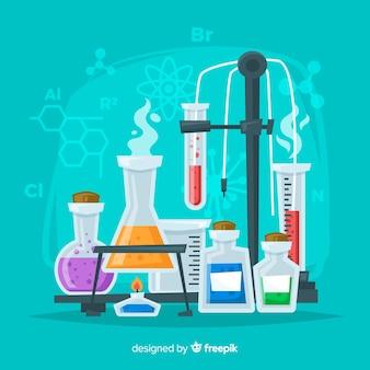 カラフルな平らな化学の背景