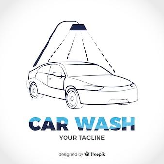 Ручной обращается автомойка логотип фон
