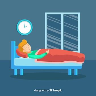 Человек спит в постели фоне