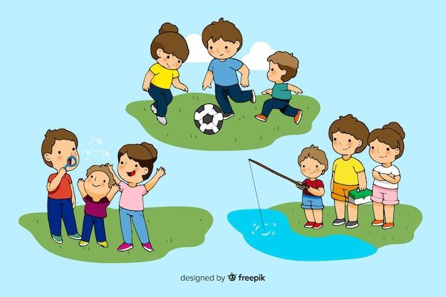 幸せな家族が野外活動をしています。キャラクターデザイン