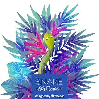 Змея с цветами иллюстрации