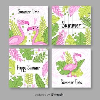 手描きのフラミンゴと夏のラベルコレクションの葉