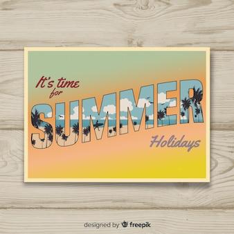 Старинная летняя праздничная открытка