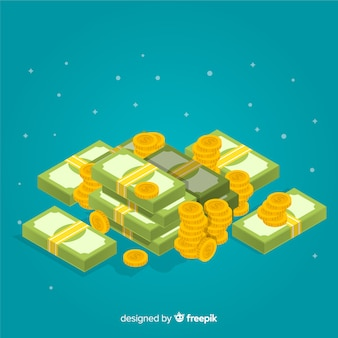 Изометрические деньги фон