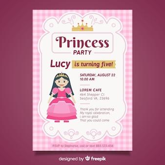 フラットプリンセスパーティーの招待状のテンプレート