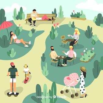 公園のコレクションに描かれた人々を手します。