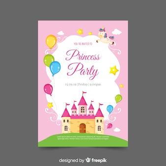 Шаблон приглашения плоский замок принцесса партии