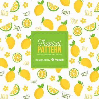 手描きのレモンパターン
