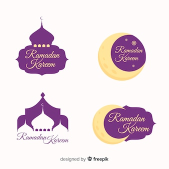 Плоская коллекция значков рамадан