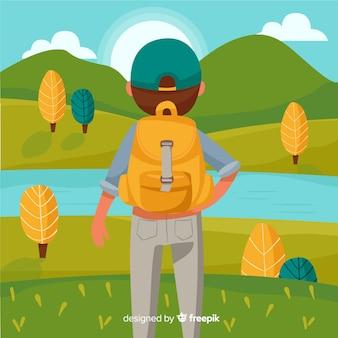 Исследователь с рюкзаком