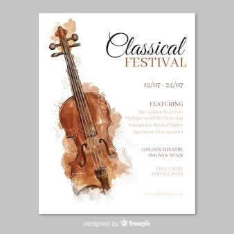 Шаблон плаката фестиваля акварельной музыки