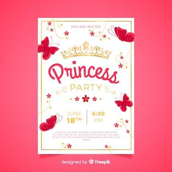 フラット蝶プリンセスパーティーの招待状のテンプレート