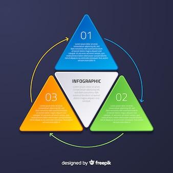 グラデーション効果を持つ平らなインフォグラフィック