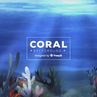水彩サンゴの背景