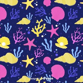Ручной обращается темный коралловый рисунок