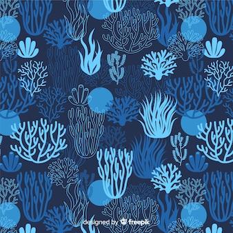 濃い手描きのサンゴパターン