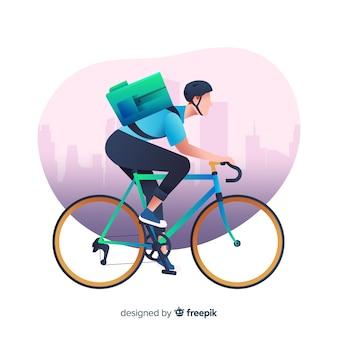 自転車の背景にフラット配達の少年